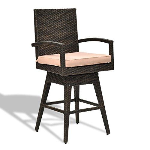 LordBee Patio Garden Outdoor Swivel Bar Stool Chair w/Seat Cushion Rattan Wicker Traditional Design Style Modern Furniture Comfortable - Traditional Wicker