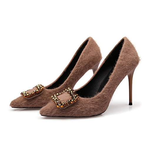 Alto tacón de ZXMXY Sandalias Cuadrada Mujer con de Marrón Zapatos Punta qXwYO6