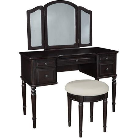 Classic Vanity with Tri-Fold Mirror and Bench, Espresso ()