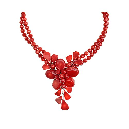 Genuine Bamboo Red Coral Flower Necklace Handmade by Jewelry To Your (Real Coral Necklace)