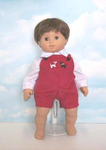 """Red Corduroy Romper Set with Embroidered Puppies. Fits 15"""" Dolls like Bitty Baby® and Bitty Twin®"""