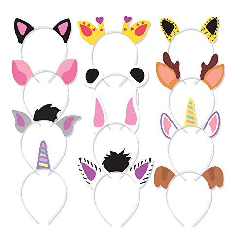 LUCKY 12PCs Animal Headbands for Kids Birthday Jungle Safari Zoo Theme Party Supplies]()