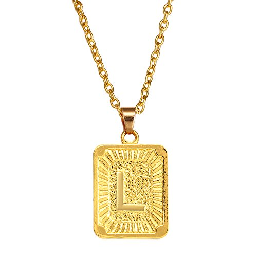 Charm Enhancer - AOASK Initial Letter A-Z Square Pendant Gold Plated Charm Necklace for Women Mens Jewelry (L)