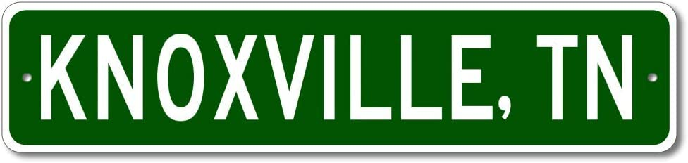 """Knoxville, Tennessee - USA City and State Street Sign - Aluminum 4"""" x 18"""" Inch, Novelty Sign for Home Decoration, Man Cave Street Sign, Unique Gift Idea, Pub Bar Wall Decor, Made in The USA"""