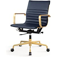 Meelano 348-GD-NVY Office Chair in Vegan Leather, Gold/Navy Blue