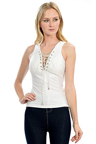 Sexy Faux Leather Shiny Coated Rave Club Wear Sleeveless Top With Front Drawstring (Small, White)