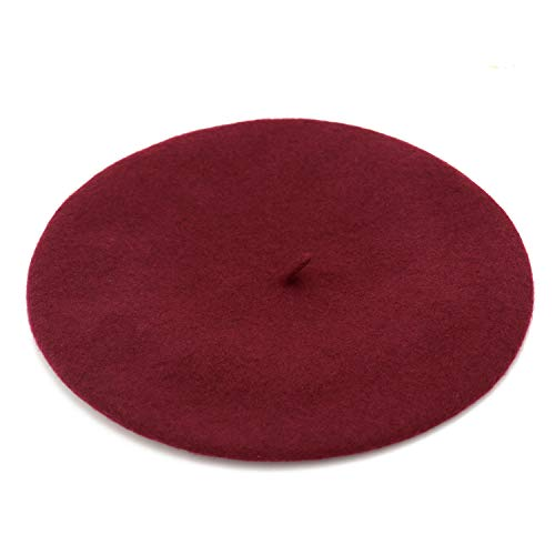 Wheebo Wool Beret Hat,Solid Color French Style Winter Warm Cap for Women Girls (Burgundy)
