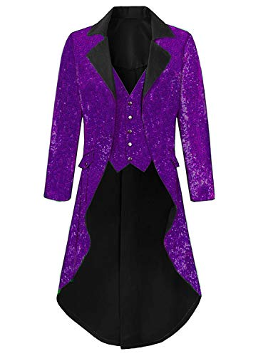 Colorful Sequins Victorian Tailcoat Joker Jacket Purple Wedding Tuxedo for Men