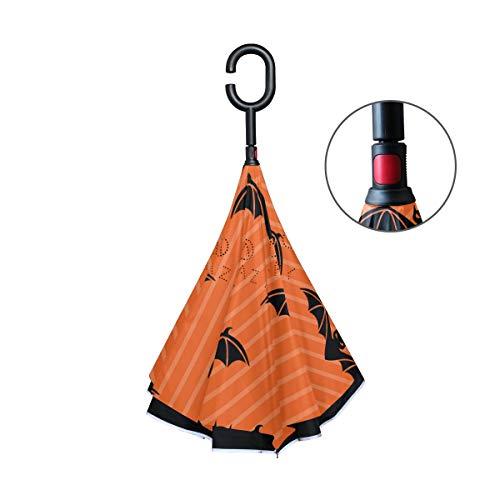 MALPLENA Halloween Bats Auto Open Umbrella Upside Down Reverse Inverted Umbrellas for Women/Men/car/rain Outdoor Waterproof -