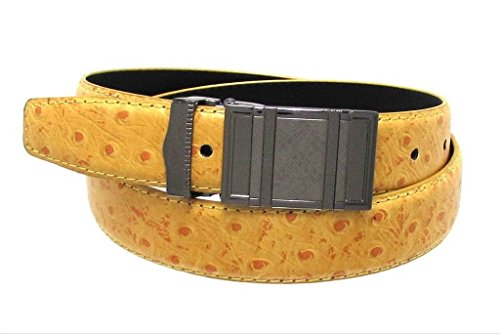 Dumani Men's Belts Ostrich Embossed Leather Mustard dots 30mm -32