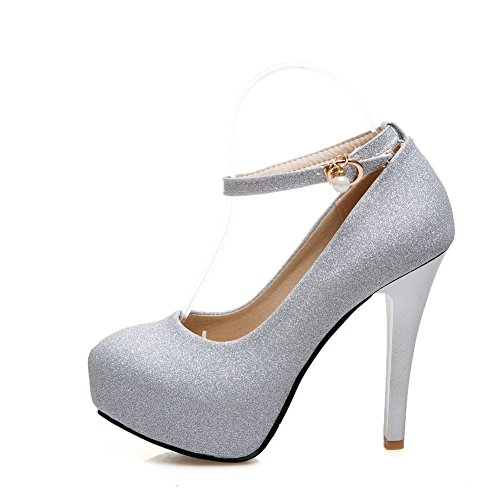 Odomolor Women's Round-Toe High-Heels Blend Materials Solid Buckle Pumps-Shoes, Silver, 38