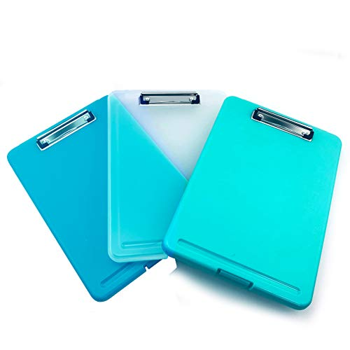 3PC Letter Size Plastic Storage Clipboard Clear Blue Cyan with Built-in Pen Holder (Set)