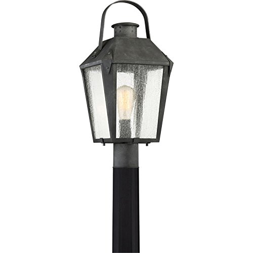 Quoizel CRG9010MB Carriage Outdoor Lantern Post Mount, 1-Light, 150 Watts, Mottled Black (22