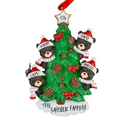 black bear tree family of 4 personalized ornament unique christmas tree ornament classic - Black Bear Christmas Decor