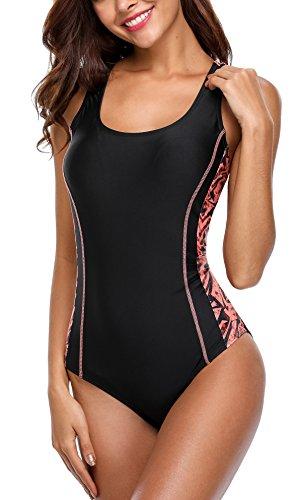 beautyin Women's Colorblock Racerback One Piece Swimsuit Sports Bathing Suit