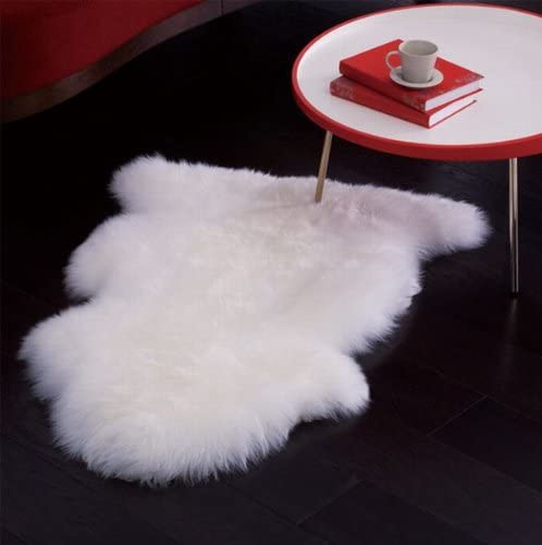Genuine Bowron Sheepskin Rug Single Pelt Ivory White Fur, Approx. 2ft x 3ft