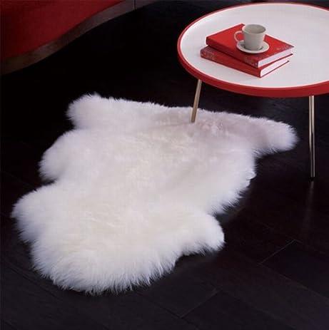Superior Genuine Bowron Sheepskin Rug Single Pelt Ivory White Fur, Approx. 2ft X 3ft