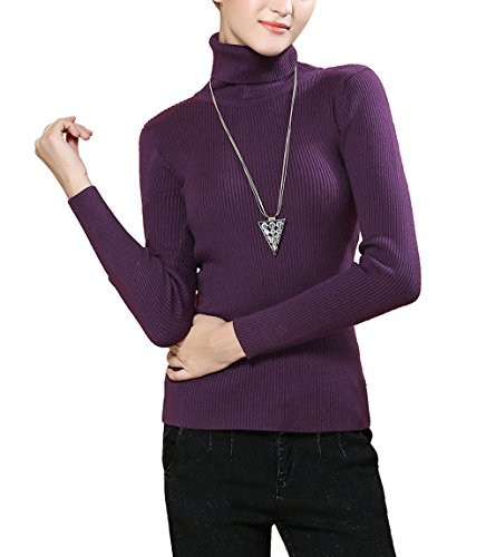 Easier Women's Cashmere/Lyocell Stretchy Turtleneck Long Sleeve Knit Pullover Sweater,Dark Purple