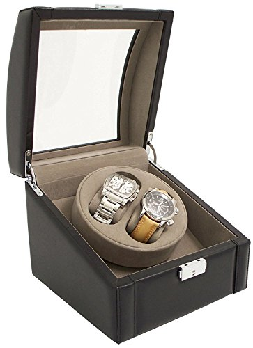 Bey-Berk BB585BLK Black Leather Winder with Glass Top and Locking Clasp. Includes 2 Watch Pillows for Large and Small Wrist Sizes, 7.5x6.5x7.5,