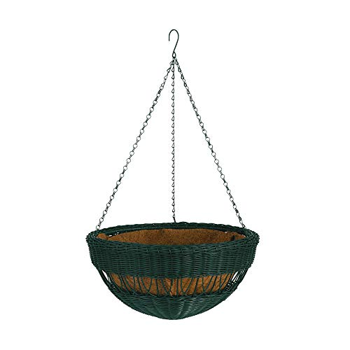 DMC Products 17-Inch Resin Wicker Hanging Basket with Chain Hanger, Hunter Green (Traditional Wicker Planter)