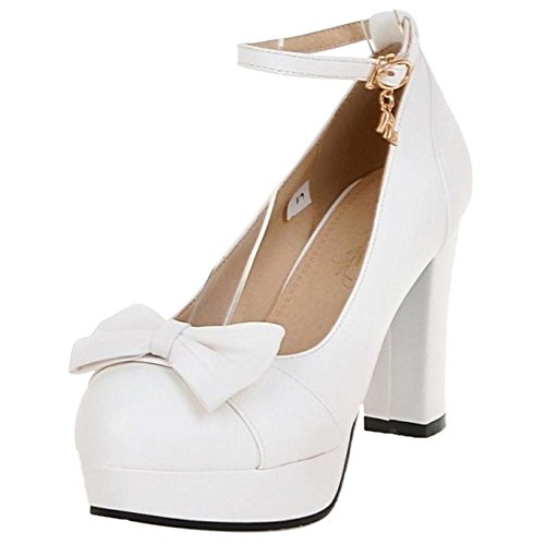 White Pumps KemeKiss Women Block Heel Solid XF6TqR