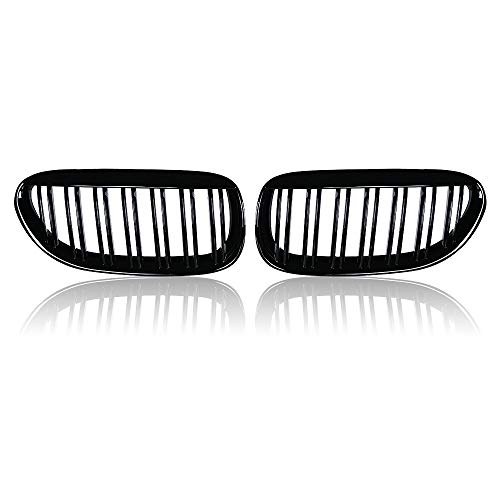 Dual-Slats Front Kidney Grill for BMW M6 E63 E64 6-series 2DR 04-10 Gloss Black