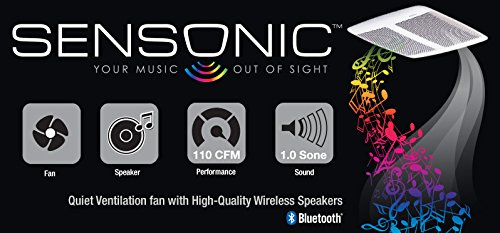Broan SPK110 110-CFM 1.0-Sones Sensonic Speaker Fan with Wireless Technology, White
