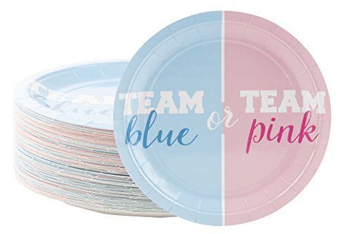 Disposable Plates - 80-Count Paper Plates, Gender Reveal Party Supplies for Appetizer, Lunch, Dinner, and Dessert, Team Blue or Team Pink, 9 x 9 inches -