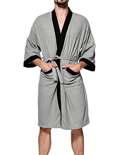 438f001eb8 Earlish Men s Kimono Robe Soft Cotton Knit Waffle Weave Knee Length Spa Robe  - Buy Online in Oman.