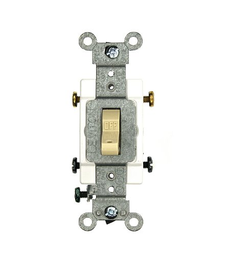 Leviton 5502-8 15-Amp, 120/277 Volt, Toggle Hospital Call Switch Double-Pole AC Quiet Switch, Commercial Grade, Grounding, Ivory ()
