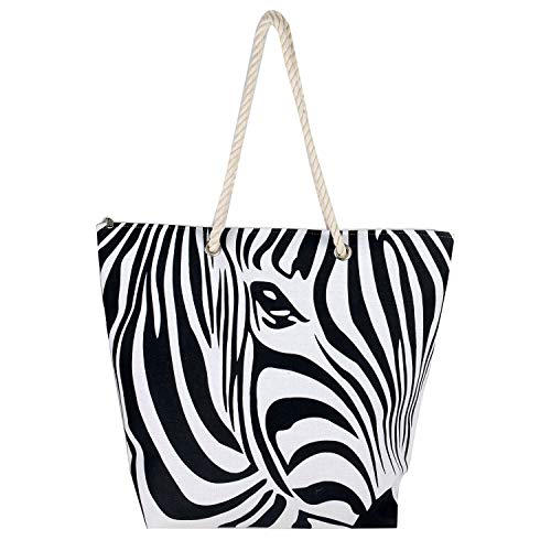 Premium Canvas Zebra Print Cotton Heavy Shoulder Straps Zipper Closure Women Tote Beach Bag by BB (Black) ()