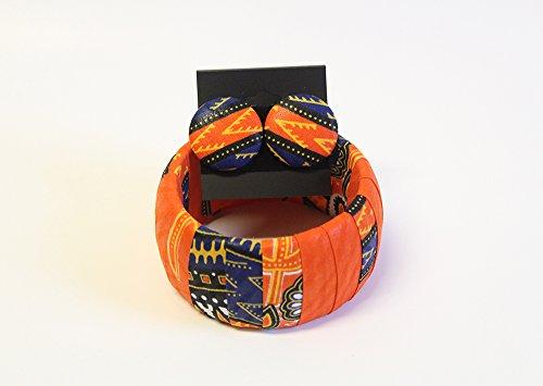 Orange Dashiki Jewelry Set African Jewelry Set Dashiki Bangle Dashiki Bracelet Dashiki Dress Afrocentric Jewelry West African Jewelry African Stud Earrings Button Covered earrings Ankara Jewelry -
