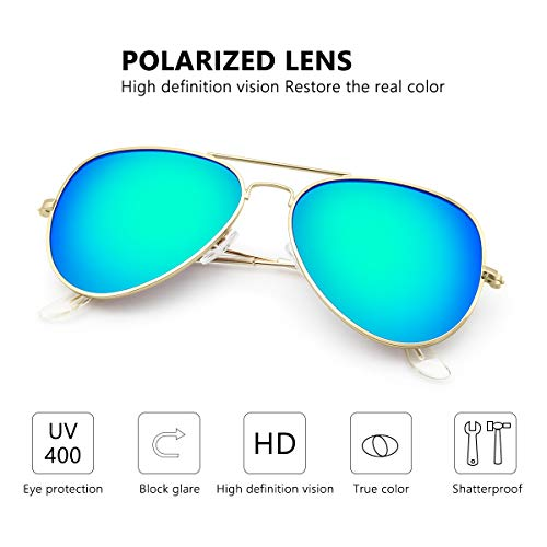 Livhò Sunglasses for Men Women Aviator Polarized Metal Mirror UV 400 Lens Protection (Gold Grey+Blue Green) by Livhò (Image #4)