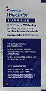 Crest Whitestrips Supreme has 100mg of gel with 14% hydrogen peroxide = 14mg of hydrogen peroxide per upper strip. Crest Whitestrips Professional has 200mg of gel with 6.5% hydrogen peroxide per upper strip. Crest Whitestrips Supreme is the most effe...