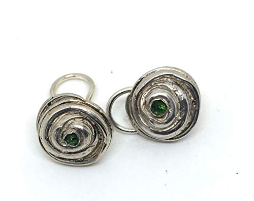 Clip On Sterling Silver Earrings with Green Chrome Diopside Gems ()