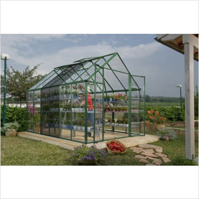 Palram Snap & Grow 8′ Series Hobby Greenhouse Extension Kit – 8 x 4 x 9 Forest Green