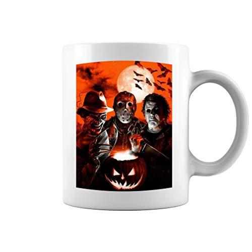Super Villains Halloween Friday the 13th Horror Jason Voorhees Michael Myers Ceramic Coffee Mug Tea Cup (11oz, White)]()