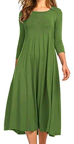 Coolred-femmes Longue Robe De Bal À Manches Col Rond Solide Une Robe Midi À La Mode Loisirs Décontracté Ligne Pattern2