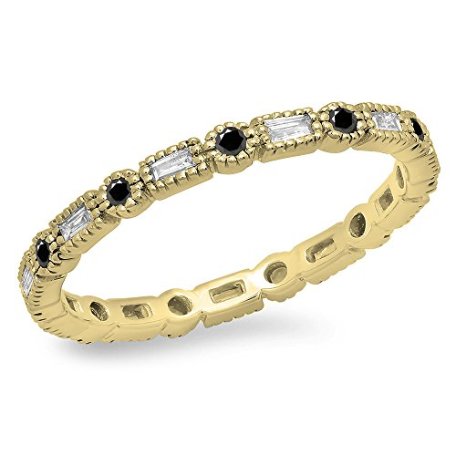 0.40 Carat (ctw) 14K Yellow Gold Black & White Diamond Vintage Wedding Eternity Band Stackable - Diamond Gold Yellow Eternity Bands Black