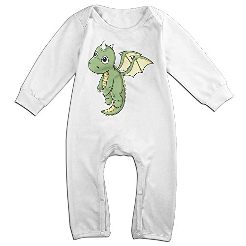 Price comparison product image Haru Little Cute Dragon NewBorn Boy's & Girl's Long Sleeve Bodysuit Outfits White 6 M