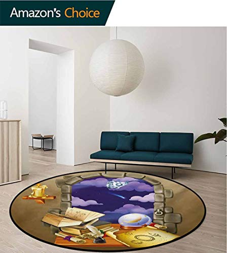 - Astrology Modern Machine Washable Round Bath Mat,Medieval Ancient Castle Window With Crystal Ball Clouds Parchment Non-Slip Soft Floor Mat Home Decor,Diameter-39 Inch Teal Grey White And Purple
