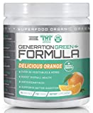 Generation Greens Powder   Organic Superfood Powder with 60 Powerful Ingredients   Chlorella, Spirulina, Wheat Grass and CoQ10 Included   15 Servings, Orange