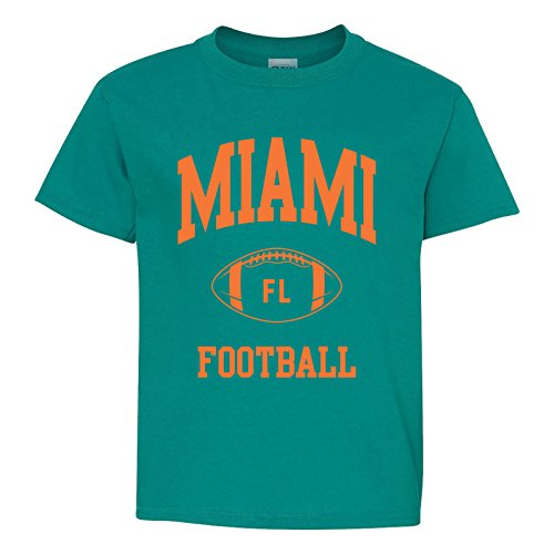 Miami Classic Football Arch American Football Team Sports Youth T Shirt - X-Large - Tropical ()