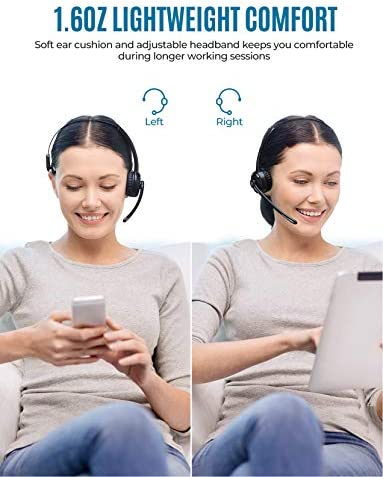 Mpow Pro Trucker Bluetooth Headset V5.0, Wireless Headphones with Microphone for Cell Phone, Office Bluetooth Headset, cVc 6.0 Noise Canceling, On Ear Headphones for Call Center, Truck Driver, Skype