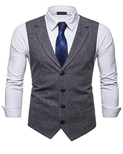 Parti Single Waistcoat Ycueust Classique breasted Tweed Homme Vest Suit Noir Gilets Formal RqnqYH