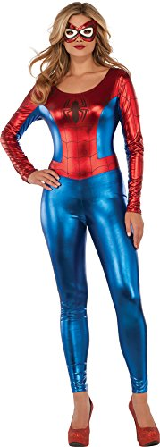 Spider Girl Deluxe Costumes (Delicious of NY Marvel Universe Superhero Style Deluxe Spider Girl Catsuit Costume, Multi, Large)
