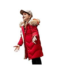 honuansortory Girl's Thick Hooded Down Coat Kid's Zip-up Warm Down Jacket Winter Overcoat for Boys and Girls