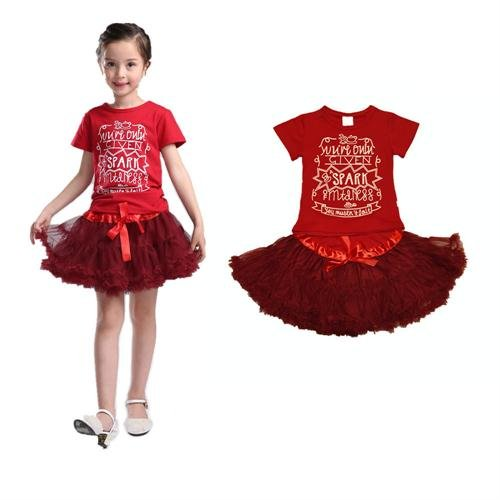 Little Girls Clothes 2 pieces Skirt Set Red Short Sleeve Shirt and TuTu AJia
