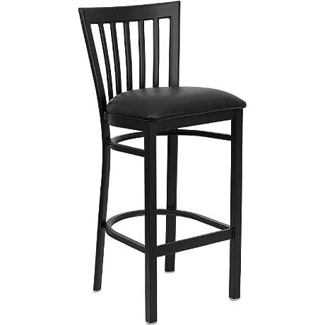 Flash Furniture HERCULES Series Black School House Back Metal Restaurant Barstool Black Vinyl Seat