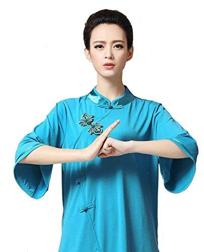 ZooBoo Women's Chinese Traditional Tai Chi Uniform Kung Fu Clothing (S, Blue)